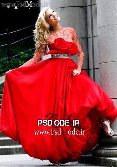 لباس قرمز شب زیبا لباس مجلسی