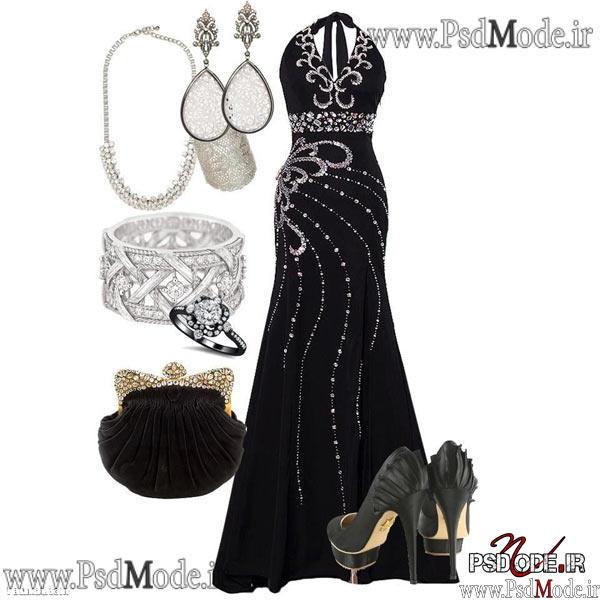 لباس شب سیاه لباس مجلسی